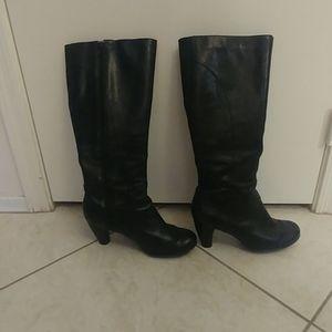 EUC black leather knee-high boots
